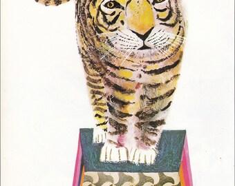 Circus Tiger 70's mid century children's illustration retro nursery decor Brian Wildsmith 8.5x11 inches