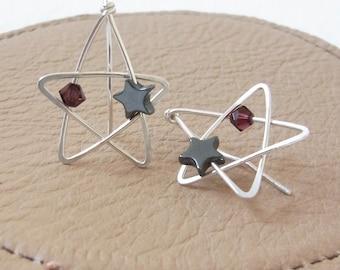 Star Earrings | Star Ear Climbers | Sterling Silver Star Earrings | Wire Wrap Earrings | Handmade Earrings | Celestial Earrings | PlumPurple