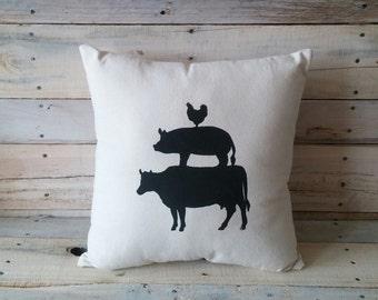 Cow Pig Chicken Pillow Cover, Farm Animal Pillow, Farmhouse Pillow, Decorative Pillow, Throw Pillow, Accent Pillow