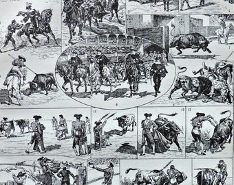 Bullfighting at the beginning of 20th. Old book plate, 1922. Antique  illustration. 95 years lithograph. 8'1 x 11'4 inches.