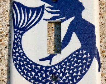 Navy Blue Mermaid Light Switch Cover