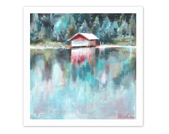 fine art print. lake painting, lake side , wanderlust art, landscape painting, print from original, acrylic painting, small painting