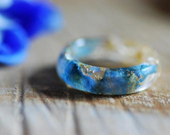 Blue Flower Ring, Pressed Flower Ring, Delphinium Resin Ring, Nature Wedding Ring, Sea Sponge Ring, Bridesmaids Gift, Engagement Nature Ring