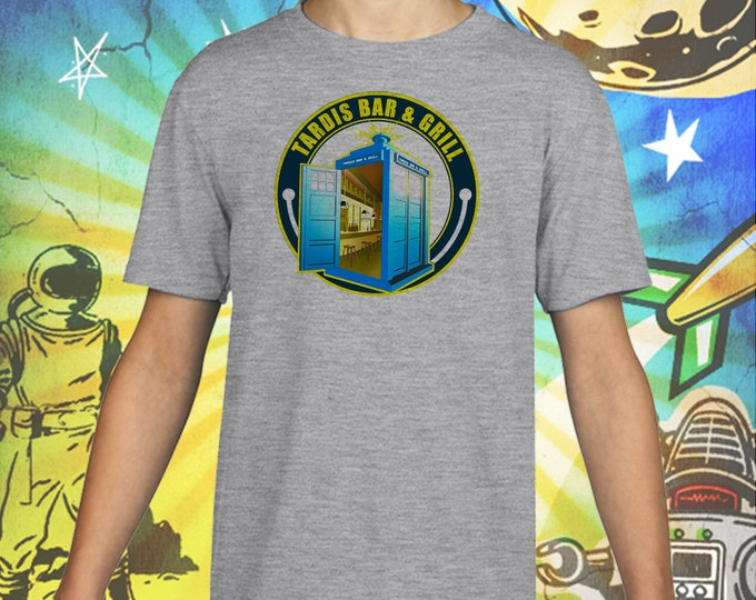Doctor Who Tardis on Gray Kids T-Shirt