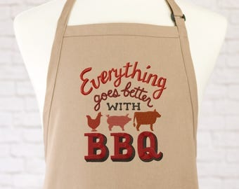 BBQ Apron - Barbecue Gifts - Funny Apron - Mens Apron - Womans Apron - Gift for Him - Embroidered Apron - Grilling Gift - Grill Accessories
