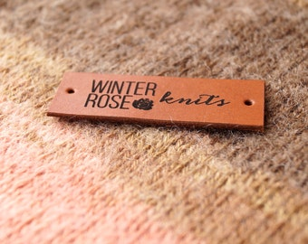 Custom made leather labels, knitting labels, personalized clothing tags, logo garment tags, real leather labels, set of 25 pc