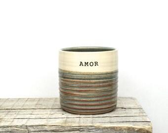 AMOR sweet handmade tumbler. Love gift. Valentine gift. Inspiration coffee tea cup. Custom Pottery. IN STOCK