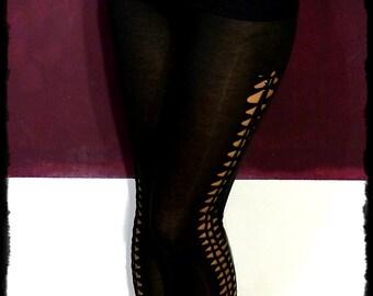 """Tribal Legging """"Inbar"""" - side braided Yoga cut out Leggings by Black Cat Design"""
