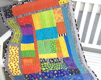 Colorful Modern Baby or Toddler Art Quilt, Colorful Wallhanging