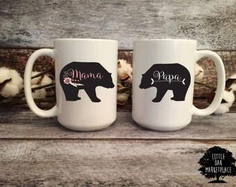 Mama Bear and Papa Bear Mug Set, Momma Bear, Mother's Day Gift, Baby Shower Gift, Gift for Mom, Gift for Dad,Mom Mug, Gift for Her