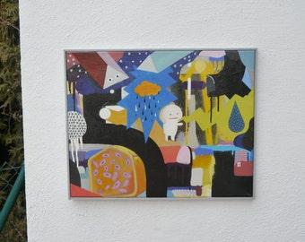 Modern acrylic painting in the style of Pop Art / Urban Art - colourful wall art - street art painting - geometric art