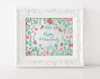 Happy Anniversary Art Print, Pink Green Anniversary sign for wife, Flower Scatter Anniversary Party Decor, for girlfriend