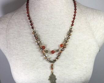 Carnelian Bronze Necklace
