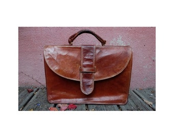 VINTAGE leather handcrafted SATCHEL bag // vtg Messenger BAG // laptop recycled