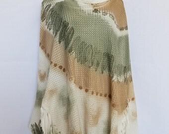 Brown and Green Vintage Dye Fringe Turtleneck Poncho