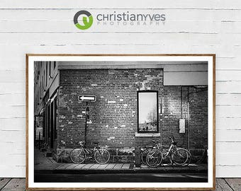 "Architecture Photography, ""Bricks & Bicycles"" Large Wall Art Vancouver Prints, Fine Art Home Decor"