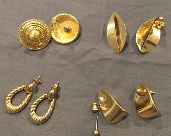 Four Pairs of 80's Vintage Gold Tone Post-style Pierced Earrings