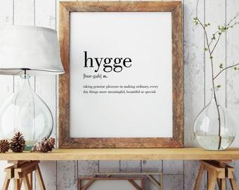 Hygge Definition Print | Modern Print | Danish Art | Minimal Print | Wall Decor | Hygge Print | Type Poster | Hygge Gift | INSTANT DOWNLOAD