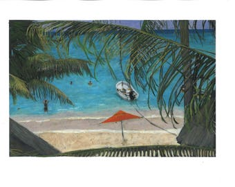 Mexican Beach Scene with Palm Trees Print