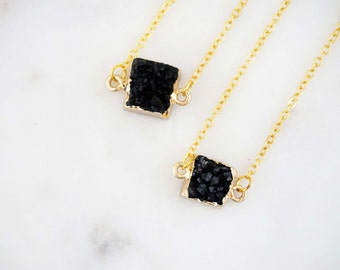 Black Druzy Agate and Gold Square Pendant Necklace