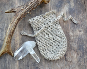 Crystal pouch, jewelry pouch, crochet pouch, beige crochet pouch, rustic pouch, boho pouch, boho home decor, small pouch, organic wool