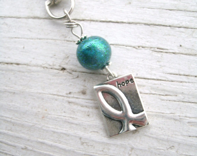 Teal Awareness Hope Lobster swivel clip, awareness charm, swivel clasp, zipper pull, purse charm, Teal, gift for her, Cancer awareness, Hope