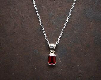 Garnet Pendant, Garnet Necklace, January Birthstone, Silver and Garnet, Red Gemstone Pendant, Sterling Silver