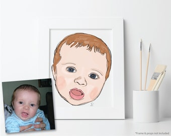 Baby Portrait, Custom Printable Illustration, Digital File: PDF JPG - You Print - Child Illustration, Nursery Art