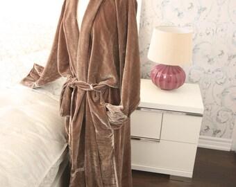 Fancy Chic Lounge Housecoat in Beige Silk Velour Kimono-style Robe, Women's Luxurious Bathrobe, Cozy Housecoat
