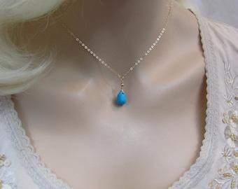 Arizona Turquoise Necklace, Sleeping Beauty Turquoise, 14K Gold Filled, Turquoise Gemstone Briolette, December Birthstone, Blue Necklace