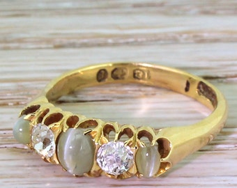 Victorian Cat's Eye & Diamond Five Stone Ring, dated 1897