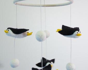 Penguin Baby Mobile, Wool Crib Mobile,Needle Felted Penguin mobile for nursery decor.