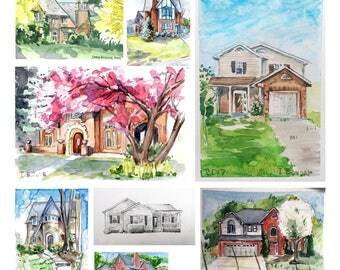 Your Custom House Portrait, Watercolor Painting, Personalized Gift for House Owner