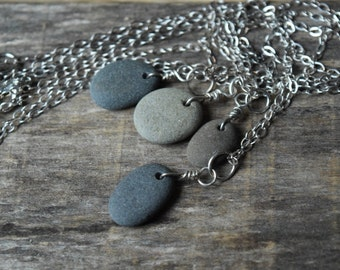 Beach Stone Necklace Sterling Silver Beach Rock Necklace Made in Maine
