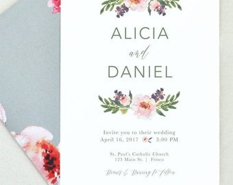 Simple Floral Wedding Invitation. Garden Wedding. Wedding Invite Suite. Pink Floral Invite. Spring Wedding Simple Invites. Wedding Invites.