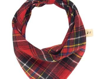 Red Plaid Dog Scarf, Flannel Puppy Bandana, Tartan Pet Scarves, Tie On Doggy Bandanna, Doggie Kerchief, Winter Fall Neckerchiefs for Dogs