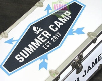 Name decal for camp trunk, Summer camp trunk sticker, Personalized trunk, Personalized decal for camp