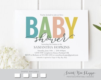 Gender Neutral Baby Shower Invitation: Colorful Baby Shower Invite, Printable DIY Invitation, Colorful Baby Shower Invite Gender Neutral