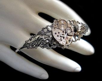 Winged Steampunk Bracelet - Mechanical - Watch Movement - Silver Clockwork - Small Wings - Victorian Retrofuturism Jewellery
