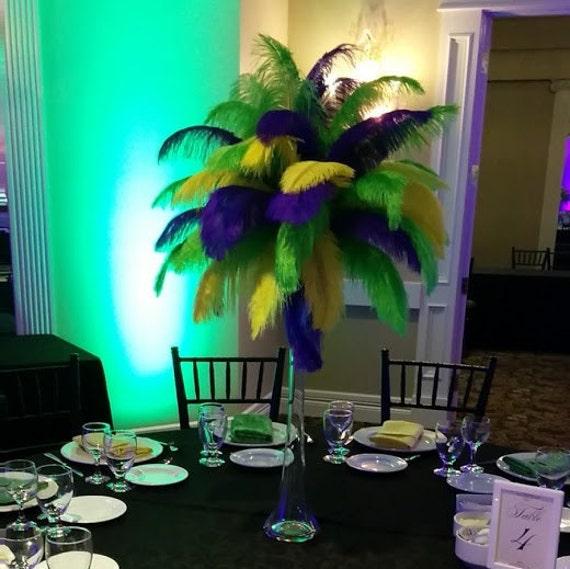Mardi gras yellow green purple ostrich feather centerpiece for
