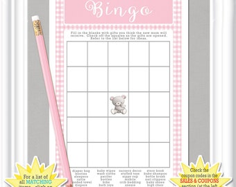 Baby Shower BINGO game, fill in the blanks Bingo, vintage/classic bingo game with pink gingham and white accents,