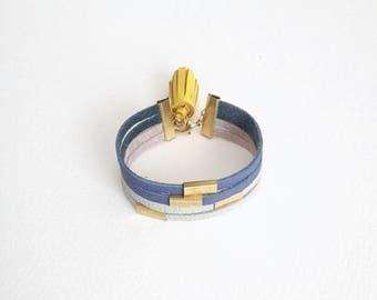 Leather Bracelet - Pastel Bracelet - Blue Leather Cuff - Tassel Bracelet - Wrap Bracelet - Leather and Brass Bracelet