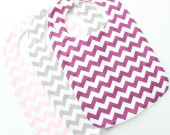 BULK Traditional Baby Bib girl set, 3 pack chevron set, bulk sale set, baby girl bibs, purple grey pink