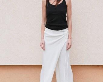 Drawstring Pants/Loose Patns/Casual Drop Crotch/Harem Pants/Viscose Pants/Wide Leg Pants/White Pants/FloAtelier White Pants/F1557