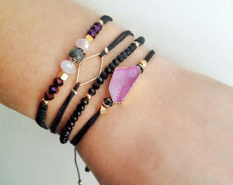 Druzy bracelet, Friendship bracelet, Macrame bracelet, Stacking bracelet, Magenta, Gold bracelet, Boho bracelet, Gemstone bracelet, Trendy