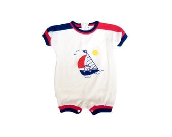 Vintage 70s Adorable Teddy Bear in a Sailboat Onesie