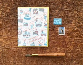 Happy Birthday Card, Wishing You a Sweet Birthday, Birthday Cakes and Sweets Card, Letterpress Folded Card, Blank Inside