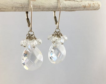 Faceted Cubic Zirconia (American Diamonds) Rounds and Teardrop Briolette Wire Wrapped with 925 Sterling Silver Wire - Statement Earrings