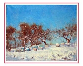 landscape paintings, winter landscape, original oil painting, wall art painting, painting for ofice, original artwork, painting, landscape