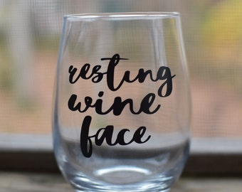 Resting Wine Face Stemless Wine Glass-Customized Wine Glass